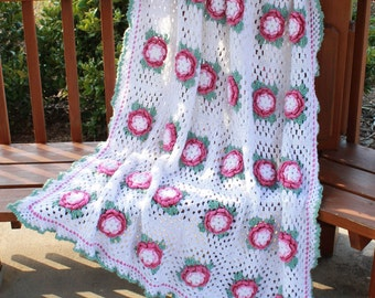 Rose Radiance Afghan Crochet Pattern PDF