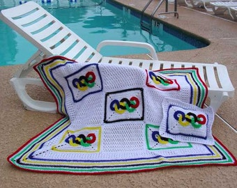 Olympic Rings Afghan and Pillow Crochet Pattern PDF
