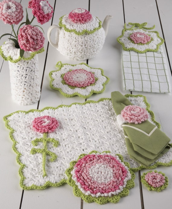 Items similar to Carnation Kitchen Set Crochet Pattern PDF on Etsy