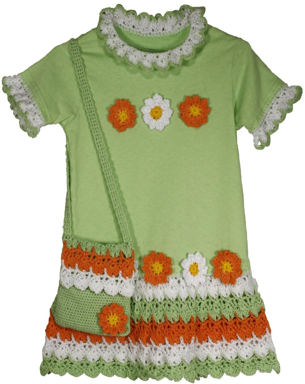 Crochet Flower Shirt Pattern : Flower Power T-Shirt Dress Crochet Pattern PDF