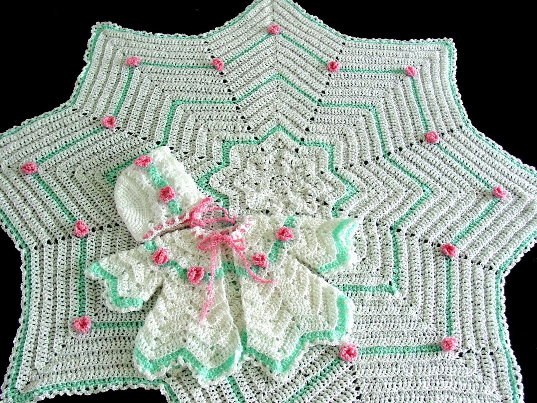 Rosebud Ripple Layette Crochet Pattern PDF