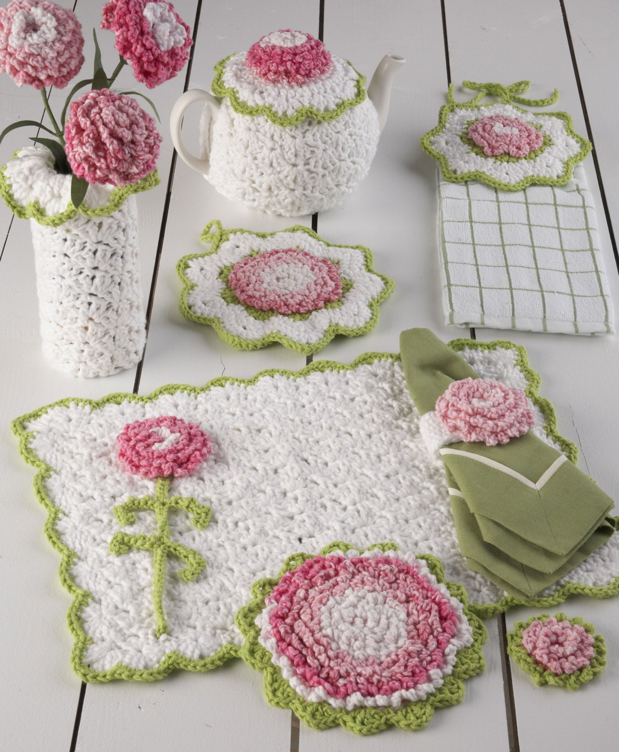 Free Vintage Kitchen Crochet Patterns : Carnation Kitchen Set Crochet Pattern PDF