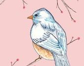 Cute Bird Art, Pink Nursery Print, Pretty Nursery Art, Sweet Art, Children's Art, Kids' Room Decor