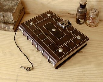"Antiqued Leather Journal with Lock and Key - ""Secret Words"""