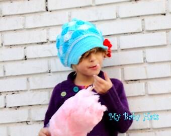 Baby Newsboy Hat, Blue Newsboy Cap for Girls, Boho Kids, Crochet Newsboy Hat