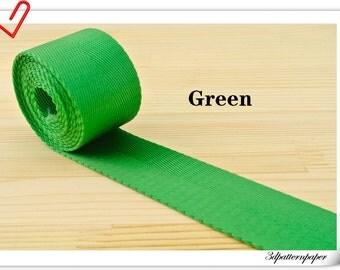 5 yards of 1.5 inch (38mm) Heavy weight Nylon webbing Green ZD37