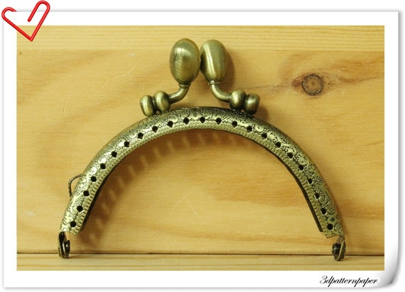 8.5 cm Anti bronze Olive-headed purse frame A60