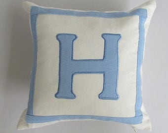 monogram pillow custom made -14 inches off white and blue