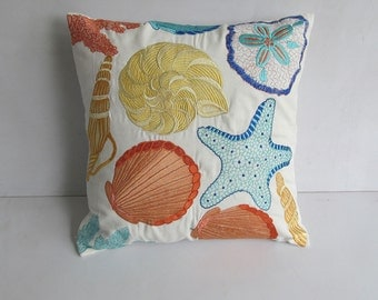 Sea themed pillow cover in off white with sea life embroidery. Beach decor. Deceretive beach house pillow.   20 inch