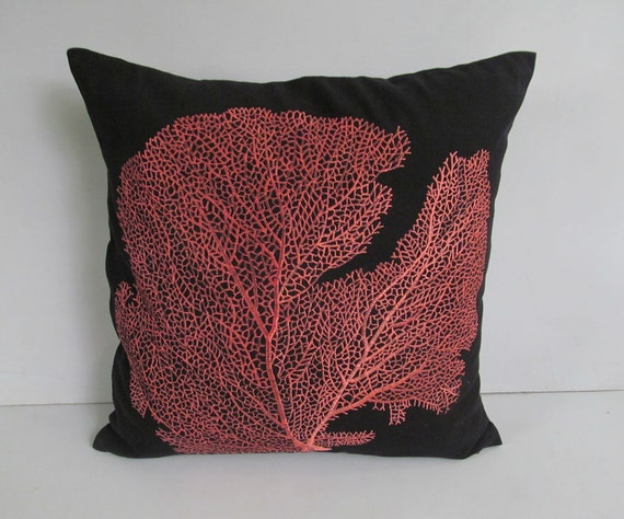 Dark Coral Throw Pillows : bronze coral fan on black throw pillow custom made
