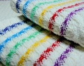 RESERVED for Little VioletBelle - Handwoven Tea Towel Dishtowel - Rainbow Stripes
