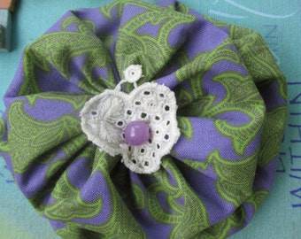 Double Yoyo Barrette with Vintage Antique Lace Center and Purple Bead
