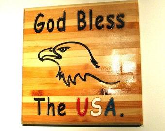 God Bless the USA - carved eagle - 10082