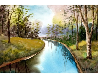 River Painting Original Watercolor Painting landscape painting Tree River Creek stream art watercolour Paintings 7x10