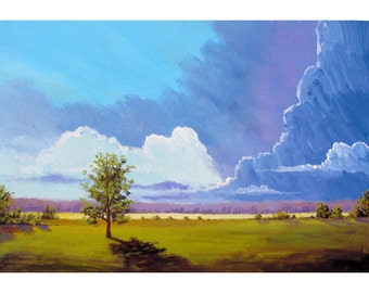 Landscape painting Cloudscape Original  acrylic Abstract landscape Impressionist Trees Clouds olive baby blue On canvas  18x24