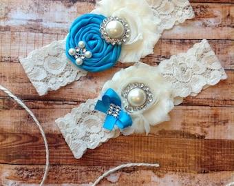 wedding garter / TURQIOUSE / bridal  garter/  lace garter / toss garter / Something BLue wedding  garter / vintage inspired lace garter
