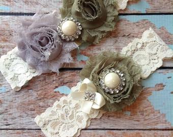 AVOCADO & GREY wedding garter set / bridal  garter/  lace garter / toss garter included /  wedding garter / vintage inspired lace garter