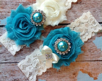 TURQUOISE  wedding garter set / bridal  garter/  lace garter / toss garter included /  wedding garter / vintage inspired