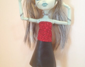 LAST ONE! Monster High Clothes Handmade Ever After High Black Leather Skirt Red Top (S1503)