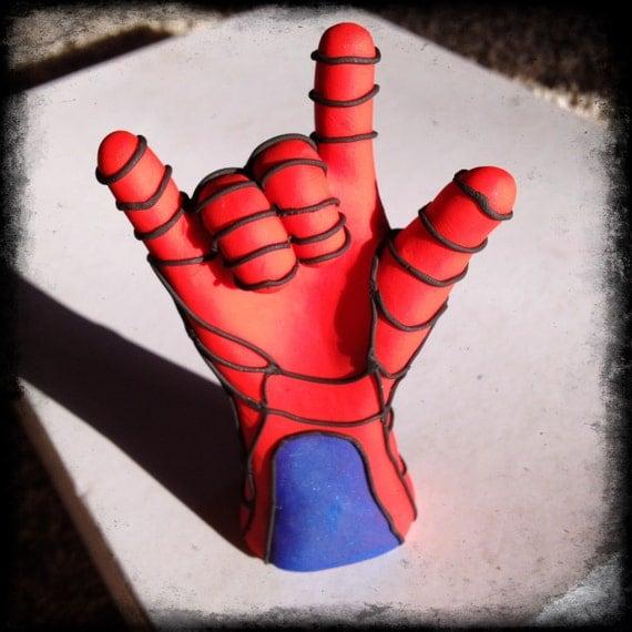 Items Similar To Spider Man Hand Superhero Handmade Sculpture Cake Topper Child Bedroom