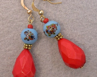 Vintage Japanese Millefiori Glass Blue Dangle Drop Bead Earrings, Vintage German Faceted Coral Lucite Teardrops,Gold French Ear Wires