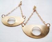 Deco Half Dome Dangles - Vintage Brass Earrings - Circa Series