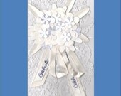 Wedding or Wedding Shower Card - White on White with Purple accents Cards - Free Shipping in USA