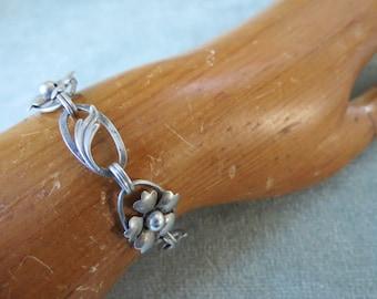 Sterling Silver Carl Art Floral Bracelet