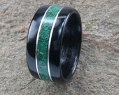 Bentwood Ring Ebony with Malachite inlay with Sterling Silver Accents