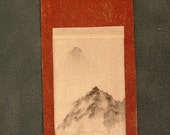 Dollhouse miniature scroll painting - Far Away Mountain Top