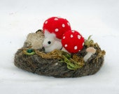 Needle Felted Custom  Mushroom And Bunny Forest Scene