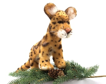 Needle Felted Clouded Leopard Soft Sculpture
