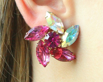 Pink Rhinestone Star Earrings Large Vintage Fuchsia Pink Aurora Borealis Big Pinwheels Runway Juliana Style Clip On