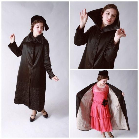 Vintage Edwardian Coat - Striking Late Edwardian Black Silk Satin Coat with Shirred Hem