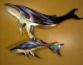 Hump Back Humpback Blue Whale Metal Steel Wall Art Ocean Beach Home Coastal Cottage Sea Coastline Decor
