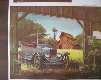 Vintage Print of Old Car and Barns