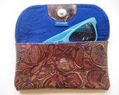 Handmade embossed leather glasses case