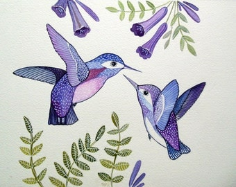 Purple Humming Birds / Bird Art / Floral / Art Print from Original Watercolor Painting / Love Birds / Nursery Decor