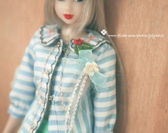 jiajiadoll -hand embroider blue and white stripes flowered coats for Momoko or Misaki or Blythe