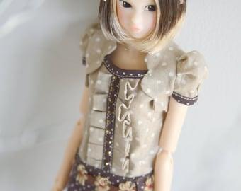 jiajiadoll- little flower coffee dots dress fit momoko or misaki or blythe