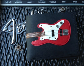 Men Wallet Bass Guitar & Red Color leather