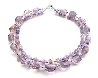 Fairytale -- Double Strand Statement Choker with Ametrine and Sterling Silver