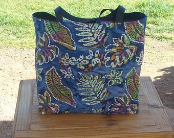 Tropical Leaf and Flower on Navy Batik Print Reusable Shopping Tote Bag
