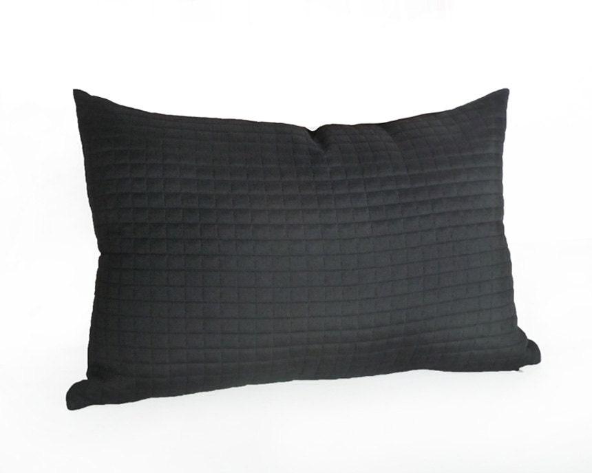 Contemporary Black Lumbar Pillow Solid Black Accent Pillows