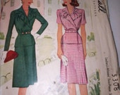 Vintage Sewing Pattern: Woman's Suit WW 2 Slim Skirt and Jacket Sixe 18 Bust 36