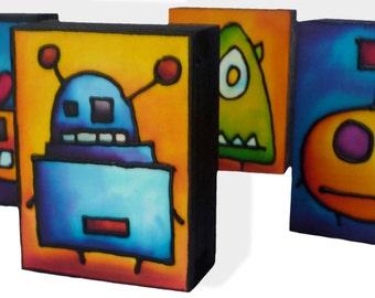 "Original Hand Painted Silk Monsters, 3""x4"" birch box"