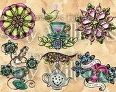 Green Idea Bird Turquoise Teacups Pink Heart Jewels Tattoo Art A4 Print
