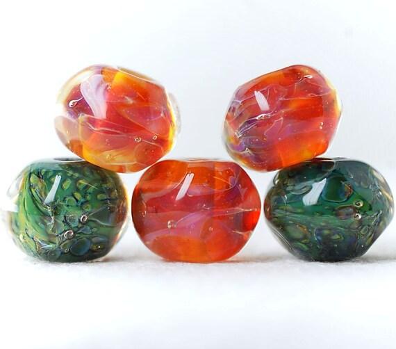 SALE 15%OFF Organic lampwork boro bead set (5), amber, orange, purple, green. SRA