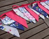 Hot Pink and Navy Bunting / Garland / Fabric Banner - 12 large Flags, 10ft Long, Wedding, Summer Celebration, Birthday Parties.