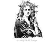 GODDESS DiANa, Moon goddess- CLING RuBBer STAMP by Cherry Pie Art Stamps